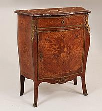 19TH C. FRENCH LOUIS XV MARQUETRY INLAID MARBLE TOP COMMODE