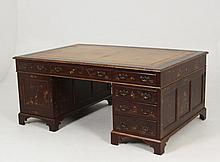 FINE LATE GEORGIAN ENGLISH OXBLOOD CHINOISERIE LACQUERED PARTNER'S DESK