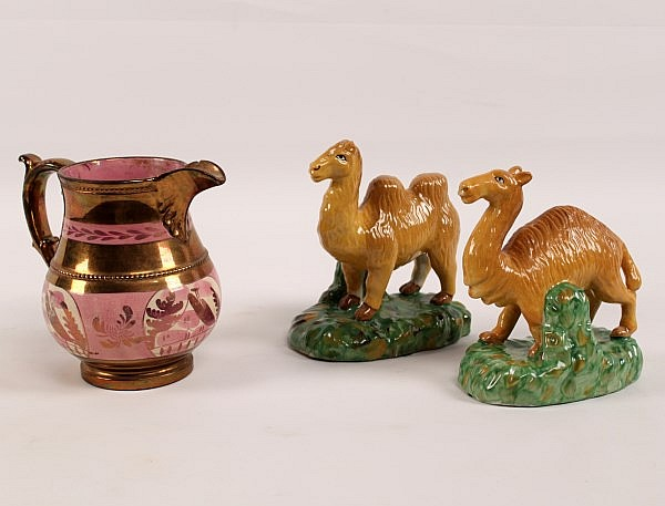 3 PIECE MISCELLANEOUS LOT OF STAFFORDSHIRE AND COPPER LUSTER