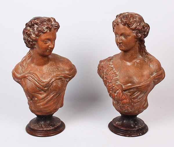 PAIR OF TERRACOTTA BUSTS OF WOMEN
