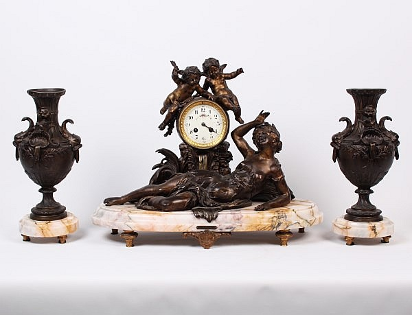 FRENCH 3 PIECE PATINATED METAL AND MARBLE CLOCK SET