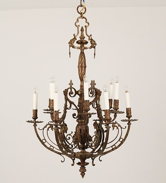 FRENCH BRONZE 12 LIGHT CHANDELIER, LATE 19TH C.