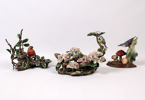 GROUP OF 3 BOEHM PORCELAIN SCULPTURES OF BIRDS IN THEIR NATURAL SETTINGS