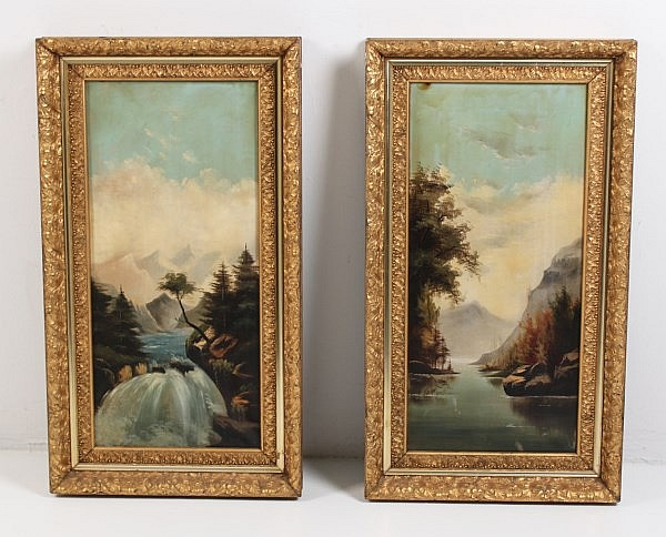 PAIR OF LATE 19TH/20TH C. AMERICAN OIL ON CANVAS LANDSCAPE PAINTINGS