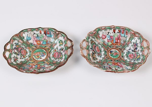 PAIR OF ROSE MEDALLION OPENWORK HANDLED SHALLOW BOWLS