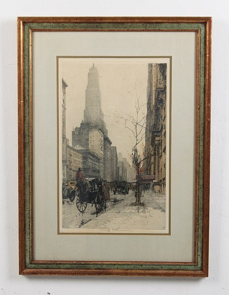 PAIR OF FRAMED SIGNED VERTICAL ETCHINGS OF NEW YORK CITY