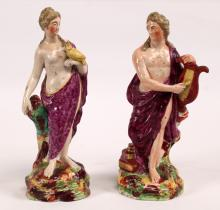 PAIR OF 19TH C. SOFT PASTE PORCELAIN CLASSICAL FIGURES