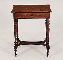 CONTINENTAL ROSEWOOD AND MARQUETRY INLAID PETITE SEWING TABLE