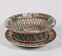 19TH C. ROSE MEDALLION RETICULATED OPEN WORK FRUIT BOWL
