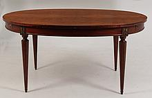 BRONZE MOUNTED LOUIS XVI CROTCH MAHOGANY DINING TABLE