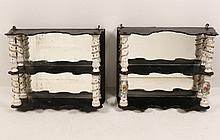 PAIR OF 3 TIER EBONY WHAT-NOTS HAVING MEISSEN TYPE PORCELAIN COLUMNS
