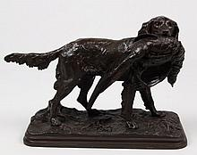 A. DUBUCAND, 19TH C. FRENCH BRONZE OF A SETTER