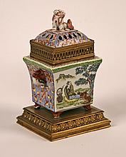 ORIENTAL PORCELAIN AND GILT METAL MOUNTED INCENSE BURNER
