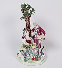 CONTINENTAL PORCELAIN FIGURAL COURTING SCENE GROUP