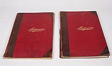 PAIR OF RED LEATHER BOUND VOLUMNS TITLED
