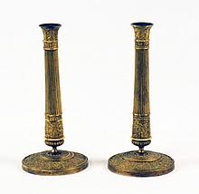 PAIR OF 19TH C. EMBOSSED DORE BRONZE FRENCH CANDLESTICKS