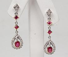 PAIR OF 18K DIAMOND AND RUBY DROP EARRINGS