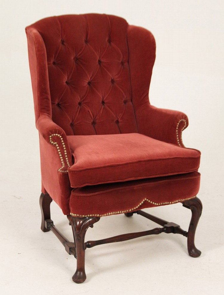 ENGLISH QUEEN ANNE WALNUT WING CHAIR