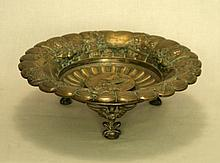 FOOTED EMBOSSED BRONZE SCALLOPED SHAPED TAZZA