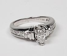 14K MARQUIS SHAPED DIAMOND LADIES RING
