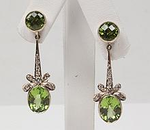 PAIR OF 18K DIAMOND AND PERIDOT DROP EARRINGS