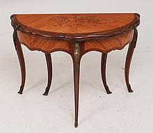 LOUIS XV STYLE MARQUETRY INLAID FLIP TOP GAME TABLE