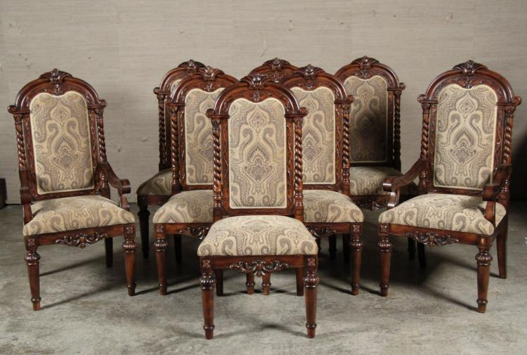 SET OF 8 FRENCH STYLE WALNUT UPHOLSTERED DINING CHAIRS