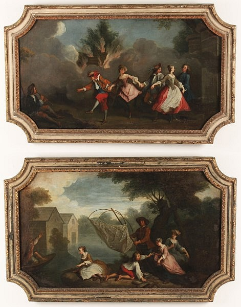IMPORTANT PAIR OF 18TH C. FRENCH OIL ON CANVAS GENRE SCENE PAINTINGS