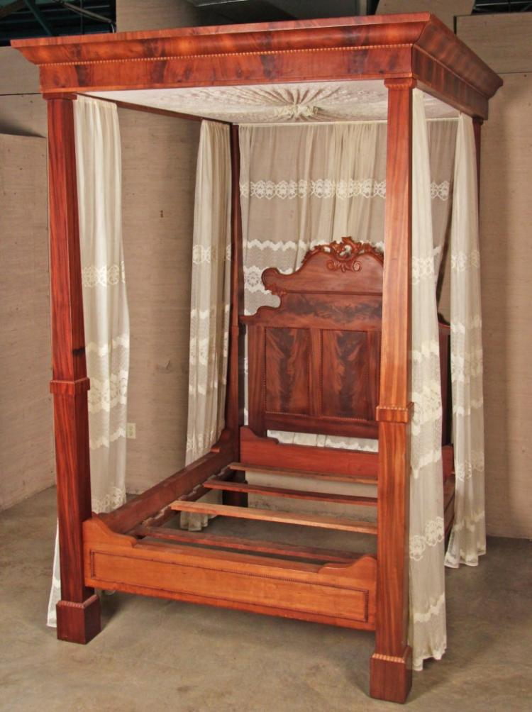 American mahogany 4 tester bed for American home furniture beds