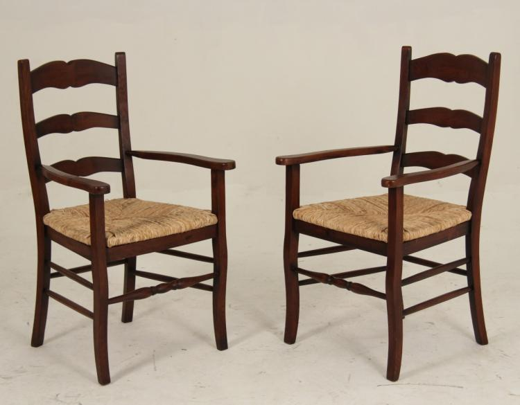 Pair Of Country French Style Oak Ladder Back Arm Chairs