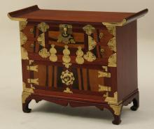 ASIAN TEAKWOOD AND BRASS BOUND CHEST