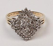 14K YELLOW GOLD LADIES DIAMOND CLUSTER RING