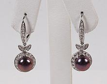 PAIR OF 14K WHITE GOLD DIAMOND AND SOUTH SEA PEARL EARRINGS