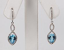PAIR OF 14K WHITE GOLD DIAMOND AND BLUE TOPAZ DROP EARRINGS