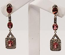 PAIR OF YELLOW GOLD TOURMALINE AND DIAMOND DROP EARRINGS