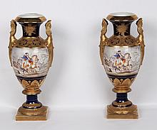 PAIR OF PORCELAIN COBALT AND GOLD GILT NAPOLEONIC STYLE VASE