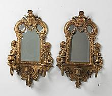 PAIR OF FRENCH GILT BRONZE 3 LIGHT MIRRORED BACK SCONCES