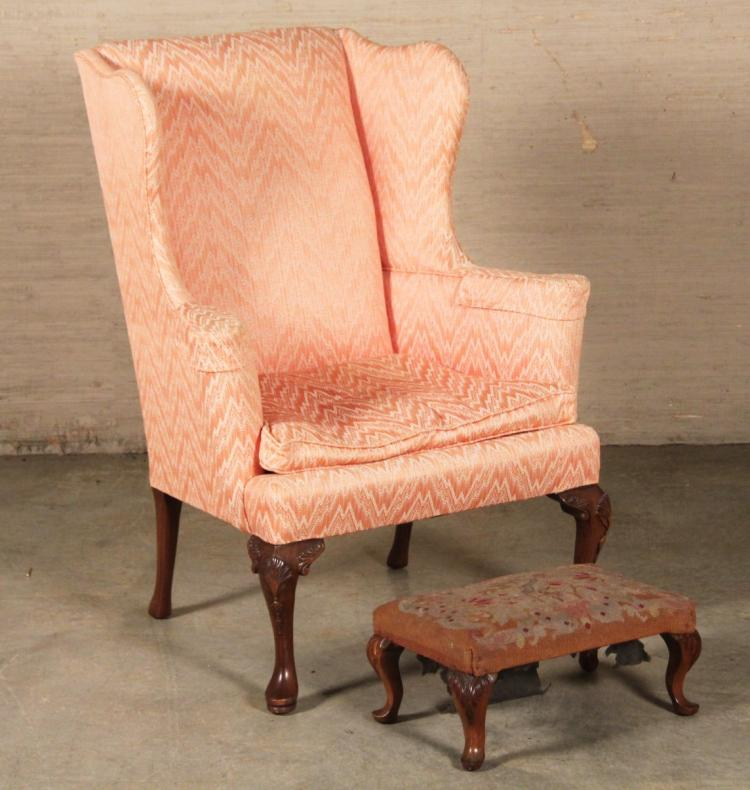 English Queen Anne Style Chair And Needlepoint Foot Stool