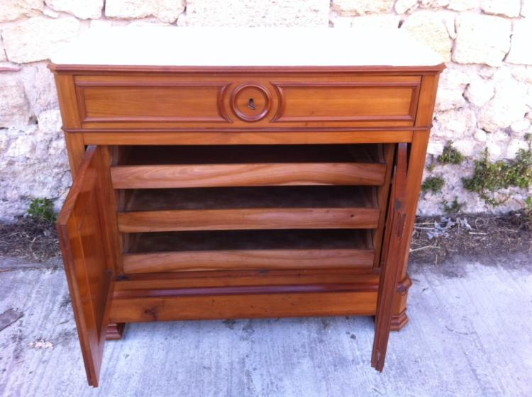 louis philippe fruitwood marble top secretaire commode