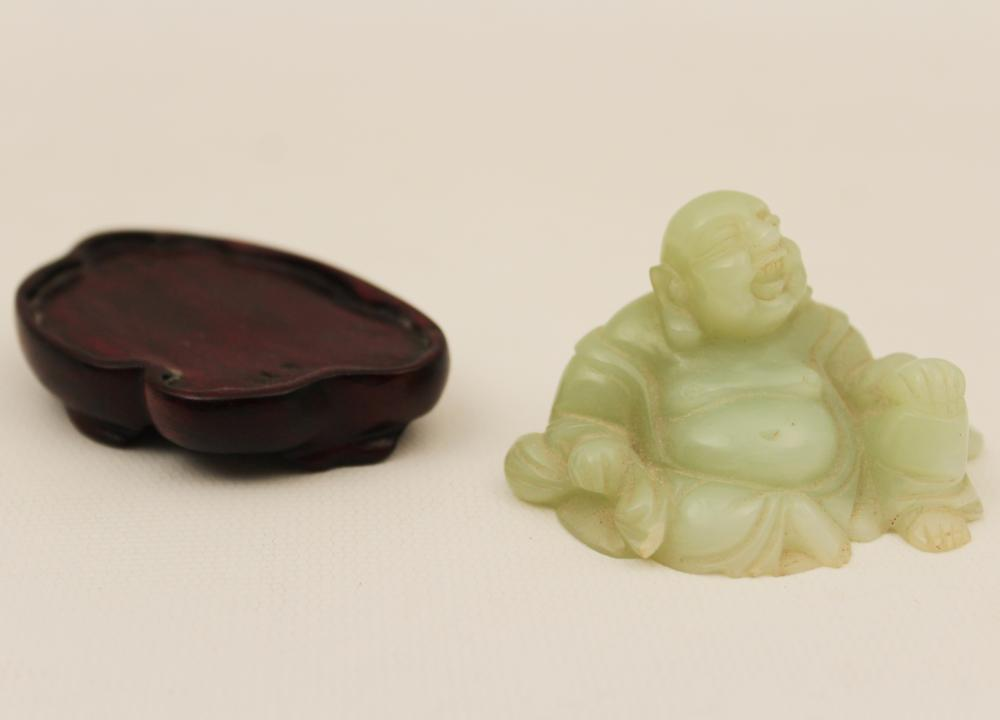 Lot 1: 2 PCS., JADE FIGURES OF 2 LIONS AND A BUDDHA