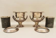 Lot 14: ENGLISH VICTORIAN SILVER PLATE WINE COOLERS