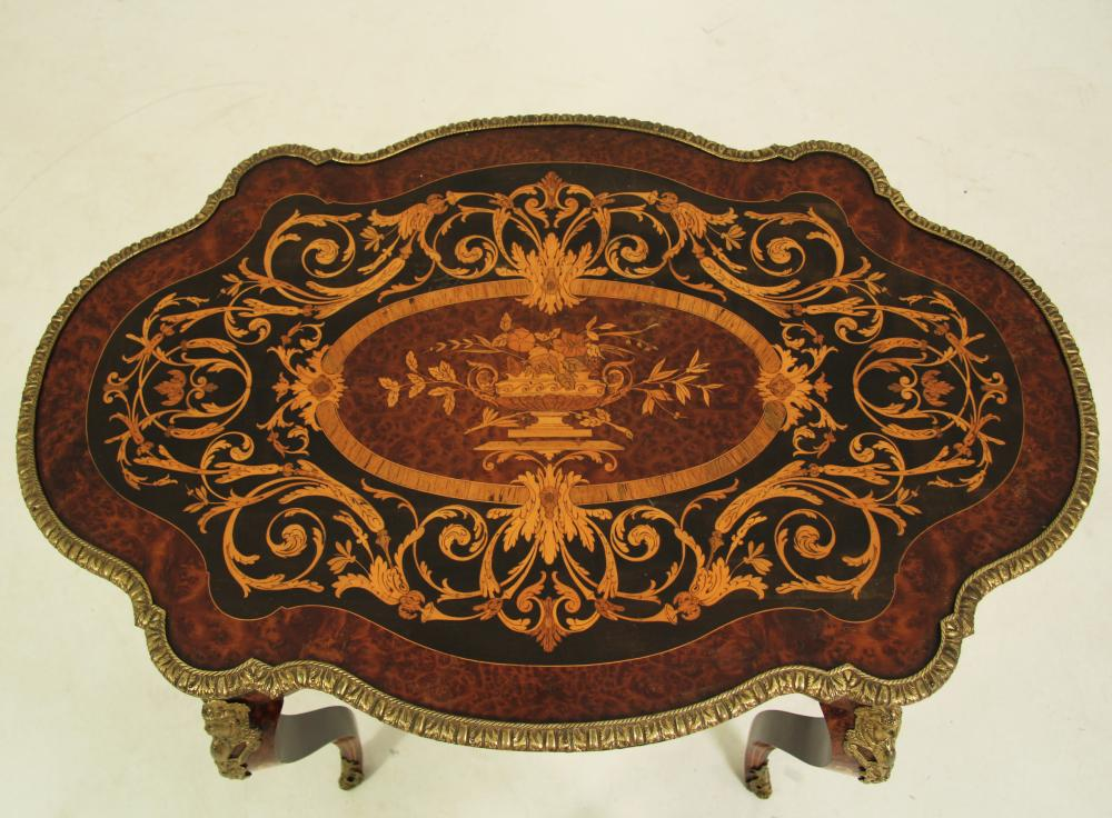 Lot 24: LOUIS XV STYLE MARQUETRY SALON TABLE