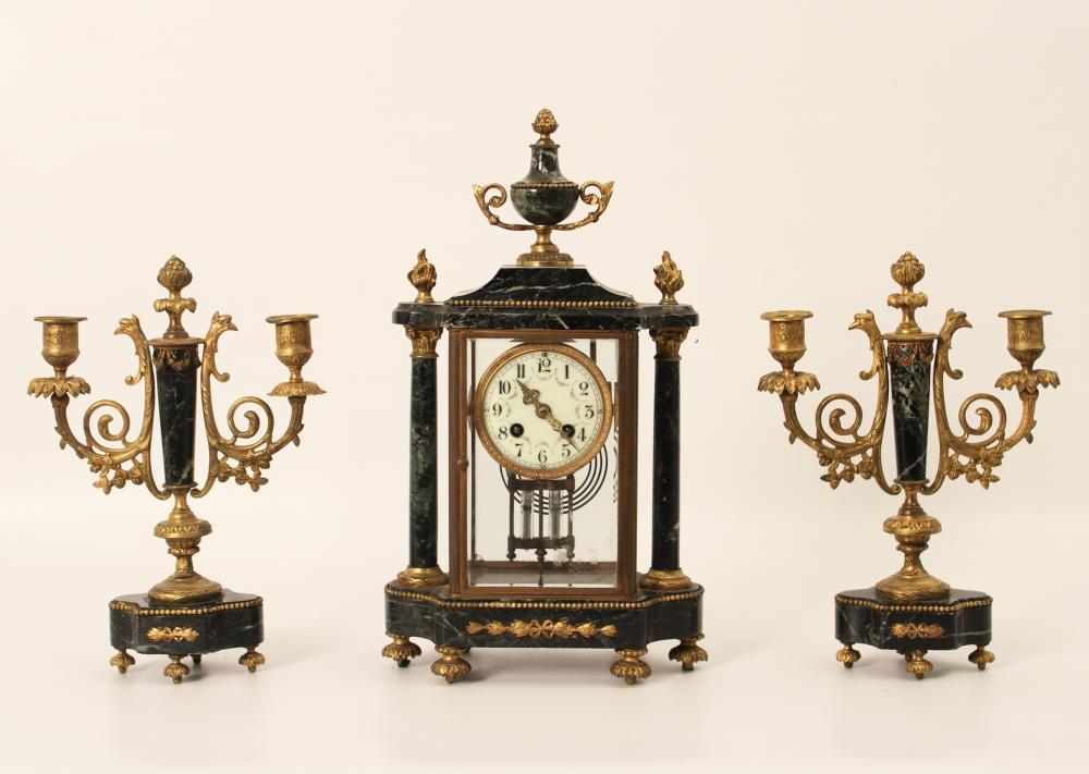 Lot 23: FRENCH 3 PC. CLOCK SET