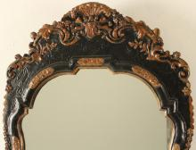 Lot 30: 18TH C. ENGLISH Q.A. LACQUERED MIRROR