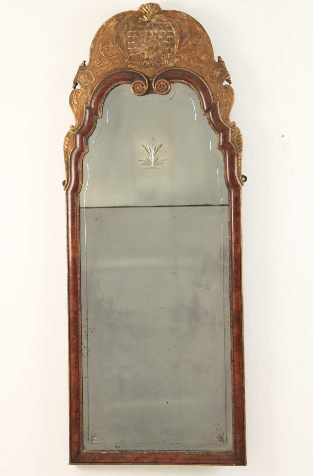 Lot 39: ENGLISH WALNUT AND PARTIAL GILT MIRROR
