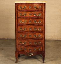 Lot 48: 19TH C. LOUIS XV STYLE MARBLE TOP SEMAINIER