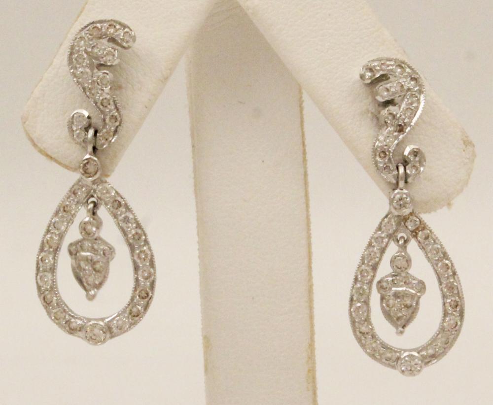 Lot 50: PR. OF 18K WHITE GOLD DIAMOND EARRINGS