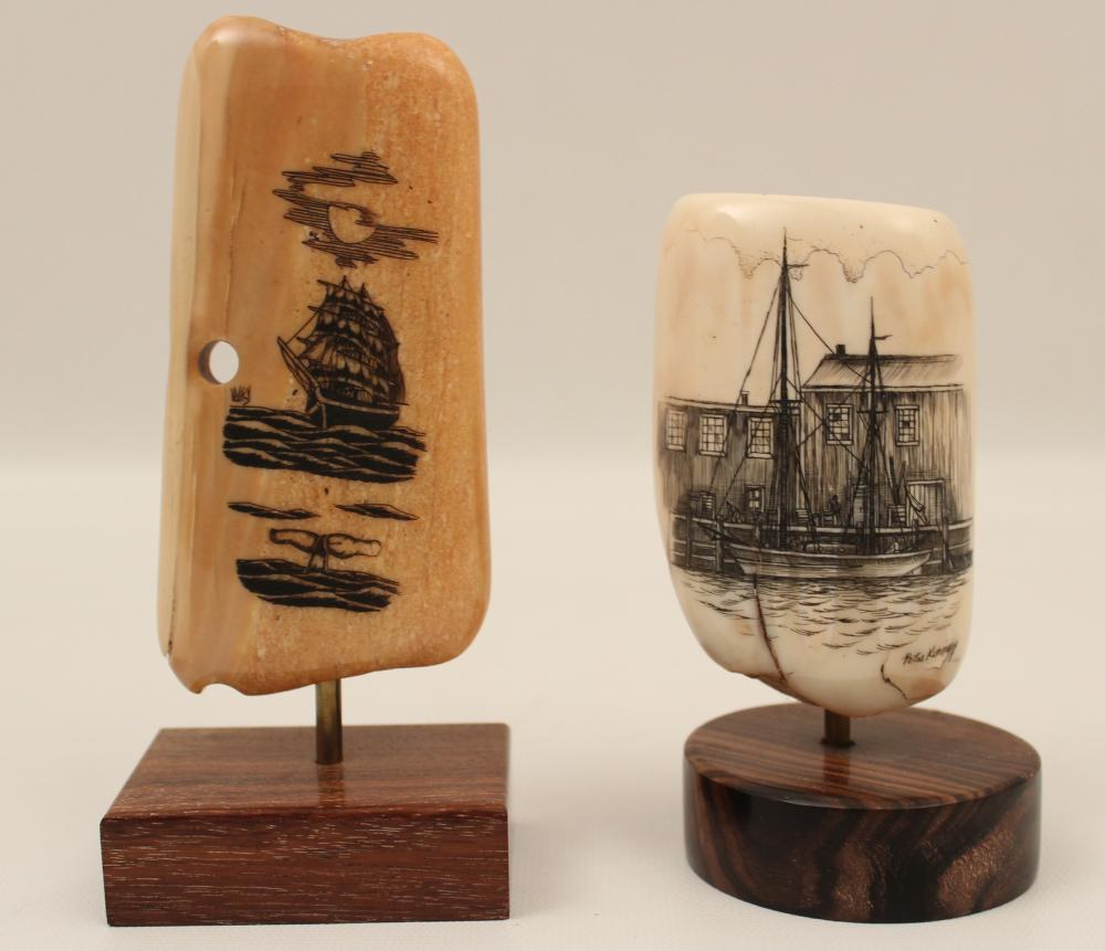 Lot 49: 2 SIGNED PIECES OF SCRIMSHAW