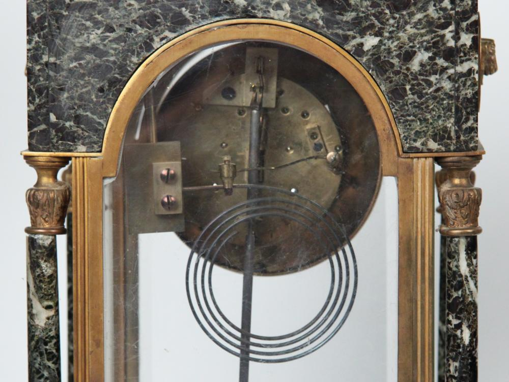 Lot 61: 3 PC. FRENCH BRONZE AND MARBLE CLOCK SET