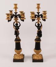Lot 81: PR. OF LOUIS PHILIPPE BRONZE CANDELABRA